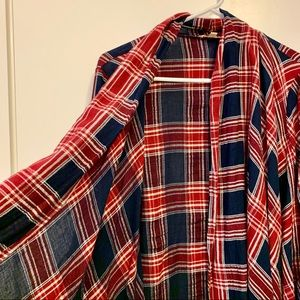 Flannel Poncho 3/4 Sleeve